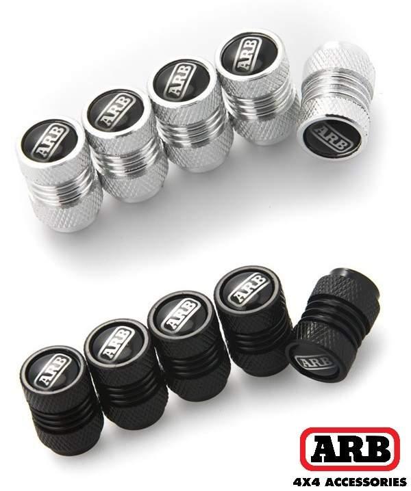 ARB čepičky ventilků stříbrné / černé.